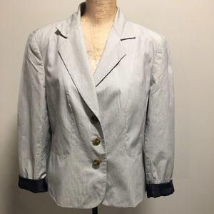 🇨🇦 Talbots 100% Cotton Pinstriped Lined Blazer